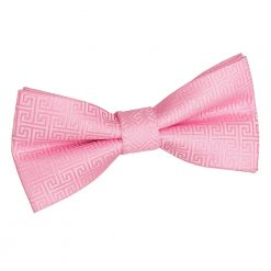 Baby Pink Greek Key Patterned Pre-Tied Thistle Bow Tie