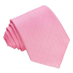 Baby Pink Greek Key Patterned Classic Tie