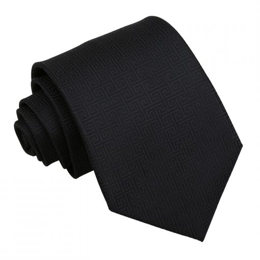 Black Greek Key Patterned Classic Tie
