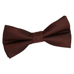 Burgundy Greek Key Patterned Pre-Tied Thistle Bow Tie