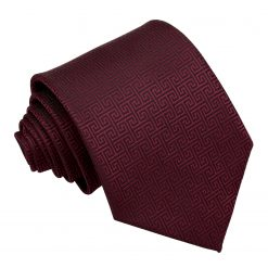 Burgundy Greek Key Patterned Classic Tie