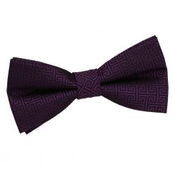 Cadbury Purple Greek Key Patterned Pre-Tied Thistle Bow Tie