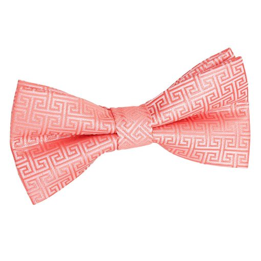 Coral Greek Key Patterned Pre-Tied Thistle Bow Tie