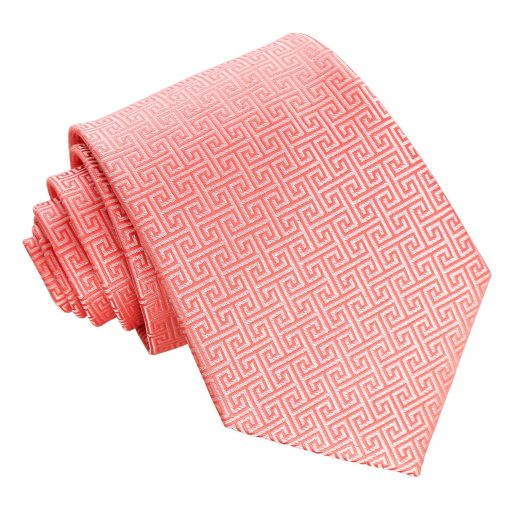 Coral Greek Key Patterned Classic Tie