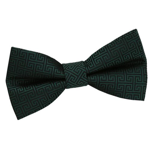 Dark Green Greek Key Patterned Pre-Tied Thistle Bow Tie