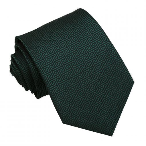Dark Green Greek Key Patterned Classic Tie