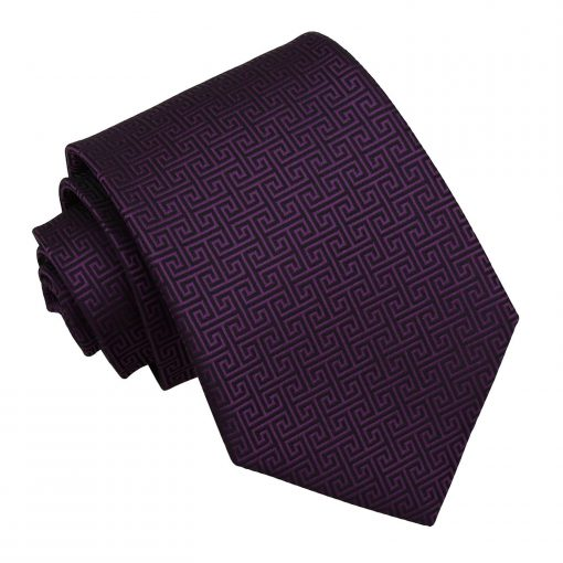 Cadbury Purple Greek Key Patterned Classic Tie