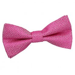 Fuchsia Pink Greek Key Patterned Pre-Tied Thistle Bow Tie