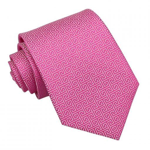 Fuchsia Pink Greek Key Patterned Classic Tie