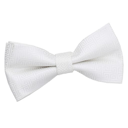 Ivory Greek Key Patterned Pre-Tied Thistle Bow Tie