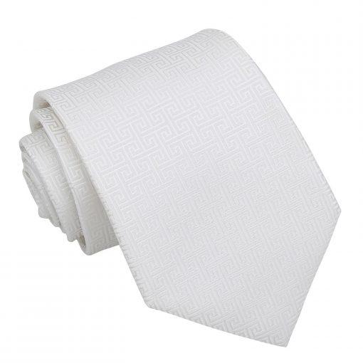 Ivory Greek Key Patterned Classic Tie