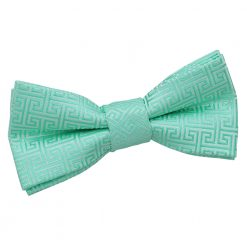 Mint Green Greek Key Patterned Pre-Tied Thistle Bow Tie