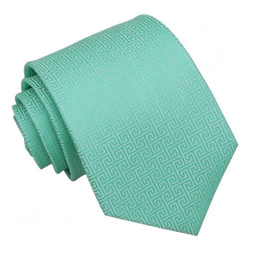 Mint Green Greek Key Patterned Classic Tie