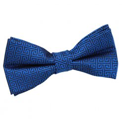 Royal Blue Greek Key Patterned Pre-Tied Thistle Bow Tie
