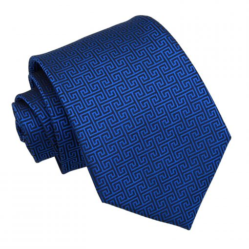Royal Blue Greek Key Patterned Classic Tie
