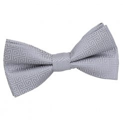 Silver Greek Key Patterned Pre-Tied Thistle Bow Tie