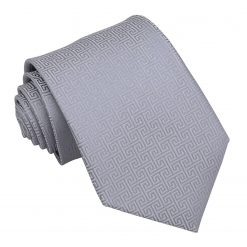 Silver Greek Key Patterned Classic Tie