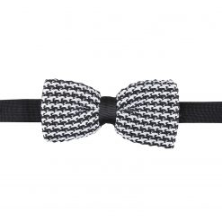White and Black Houndstooth Knitted Pre-Tied Thistle Bow Tie