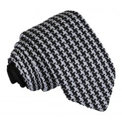 White and Black Houndstooth Knitted Slim Tie