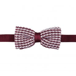 White and Burgundy Check Knitted Pre-Tied Thistle Bow Tie