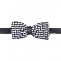White and Grey Houndstooth Knitted Pre-Tied Thistle Bow Tie