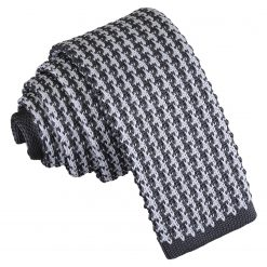 White and Grey Houndstooth Knitted Skinny Tie
