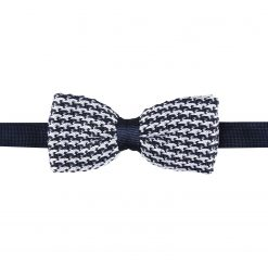 White and Navy Houndstooth Knitted Pre-Tied Thistle Bow Tie