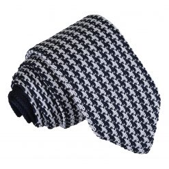 White and Navy Houndstooth Knitted Slim Tie