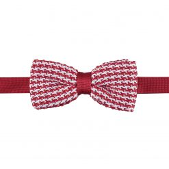 White and Red Houndstooth Knitted Pre-Tied Thistle Bow Tie