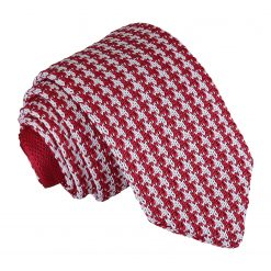 White and Red Houndstooth Knitted Slim Tie