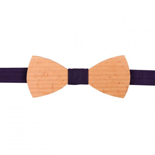 Cadbury Purple Silk and Beech Wood Bow Tie