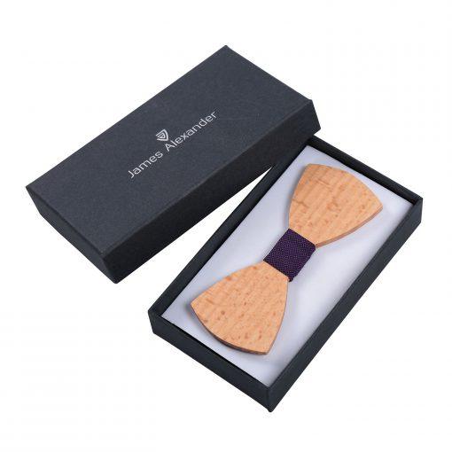 Cadbury Purple Silk and Beech Wood Bow Tie