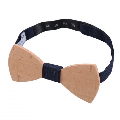 Navy Blue Silk and Beech Wood Bow Tie