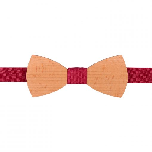Tango Red Silk and Beech Wood Bow Tie
