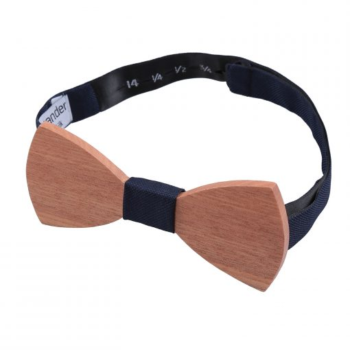 Navy Blue Silk and Cherry Wood Bow Tie