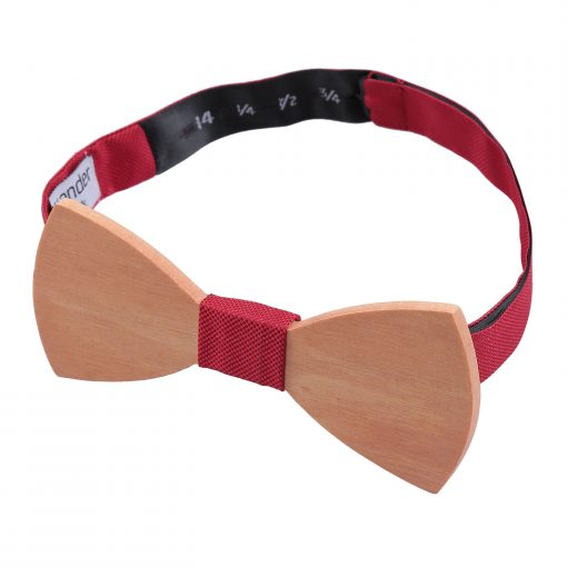 Strawberry Red Silk and Cherry Wood Bow Tie