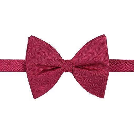 Burgundy Herringbone Silk Pre-Tied Butterfly Bow Tie