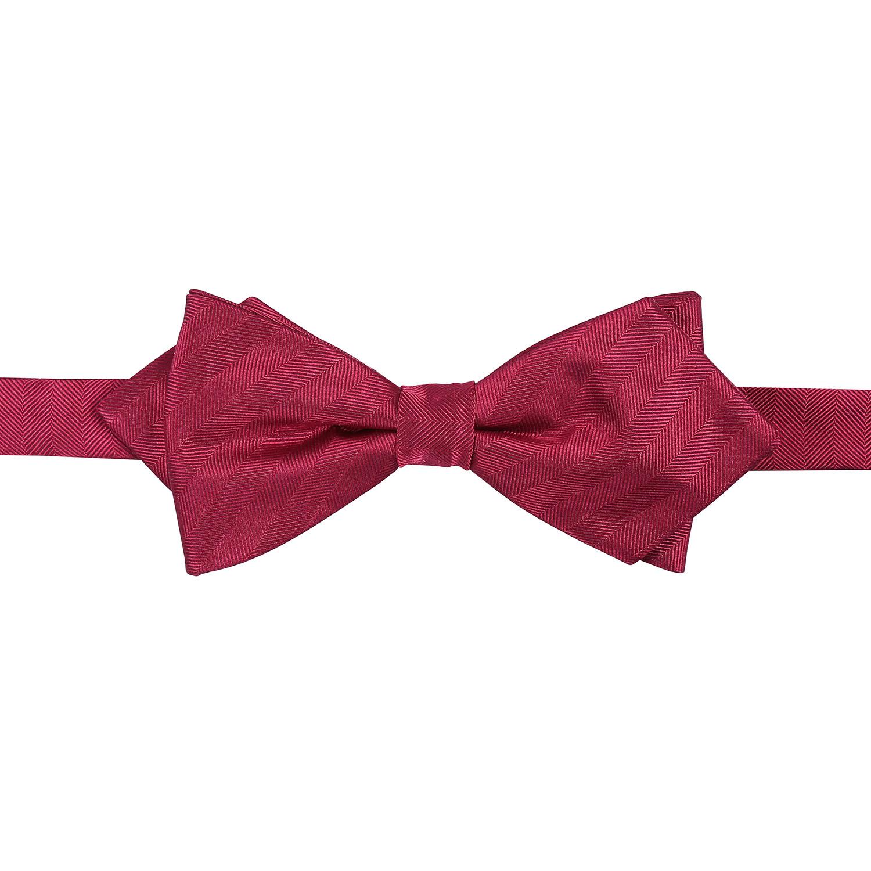 burgundy herringbone silk pre pointed bow tie
