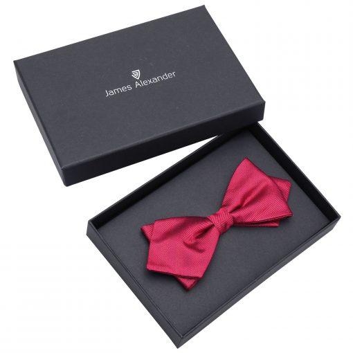 Burgundy Herringbone Silk Pre-Tied Pointed Bow Tie