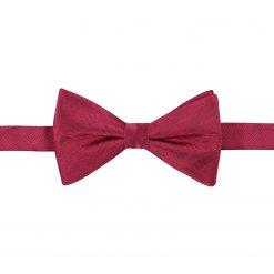 Burgundy Herringbone Silk Pre-Tied Thistle Bow Tie