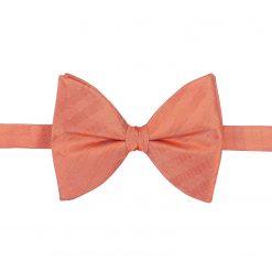 Coral Herringbone Silk Pre-Tied Butterfly Bow Tie