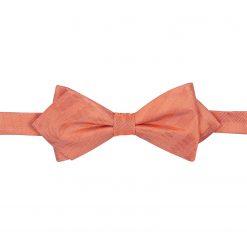 Coral Herringbone Silk Pre-Tied Pointed Bow Tie