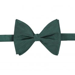 Dark Green Herringbone Silk Pre-Tied Butterfly Bow Tie
