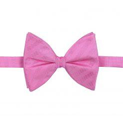 Fuchsia Pink Herringbone Silk Pre-Tied Butterfly Bow Tie