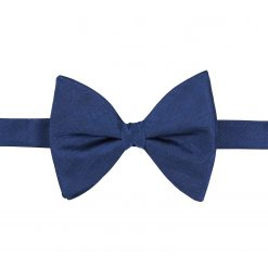 Midnight Blue Herringbone Silk Pre-Tied Butterfly Bow Tie
