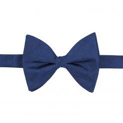 Midnight Blue Herringbone Silk Pre-Tied Butterfly Bow Tie