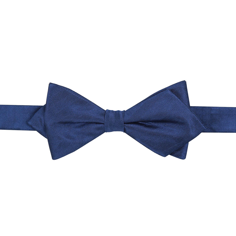 midnight blue herringbone silk pre pointed bow tie