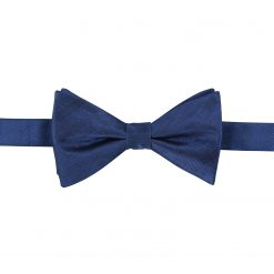 Midnight Blue Herringbone Silk Pre-Tied Thistle Bow Tie