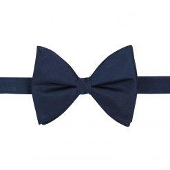 Navy Blue Herringbone Silk Pre-Tied Butterfly Bow Tie