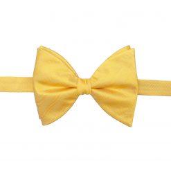 Primrose Yellow Herringbone Silk Pre-Tied Butterfly Bow Tie